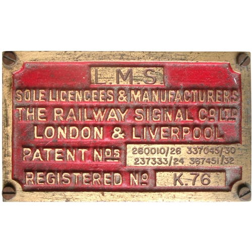 55 - A Railway Signal Company key token instrument, an LMS example in original condition with brass maker...