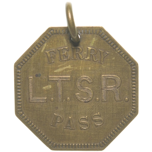 """A London, Tilbury and Southend Railway free pass for the Tilbury to Gravesend Ferry, No 81. Brass, 1¼""""x1½"""", with hook to attach to a watch chain. (Postage Band: A)"""
