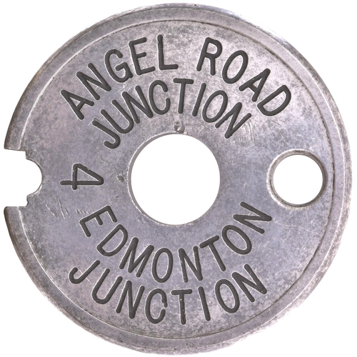 76 - A Tyers No 6 single line tablet, ANGEL ROAD-EDMONTON, (alloy), the first section of the original rou...