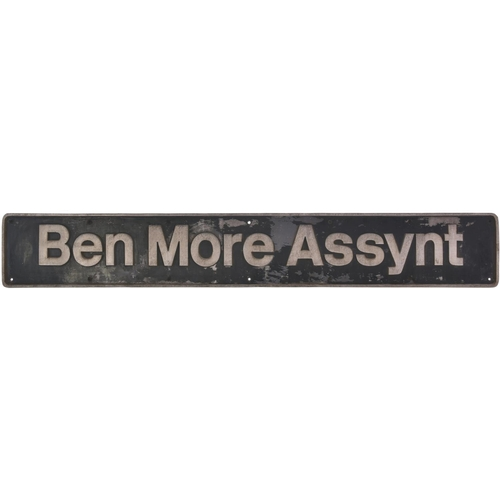 77 - A nameplate, BEN MORE ASSYNT, from a BR Class 60 No 60099 built by Brush, Works No 1001, in November...