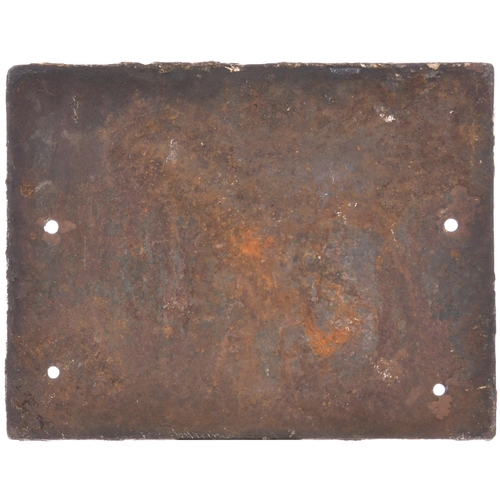 1 - A Great Western and Great Central Joint Railway signal box door notice, cast iron, 10¾