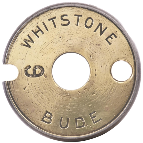 16 - A Tyers No 6 single line tablet, WHITSTONE-BUDE, (brass/steel), the first section of the branch from...