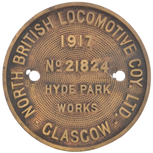 25 - A worksplate, NORTH BRITISH LOCOMOTIVE Co, 21824, 1917, from a Great Central Robinson type 2-8-0 bui...