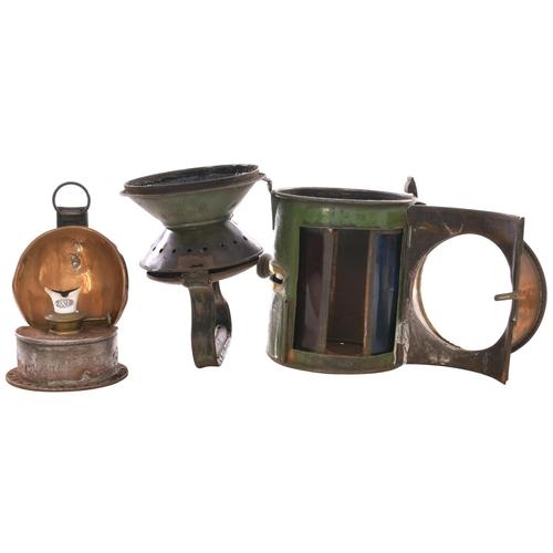 27 - A Great Eastern Railway three aspect sliding knob handlamp, the top stamped GER, HUNSTANTON, 17, the...