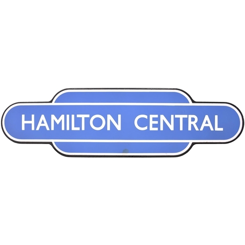 31 - A BR(Sc) totem sign, HAMILTON CENTRAL, (f/f), from the Motherwell to Newton route, south of Glasgow....