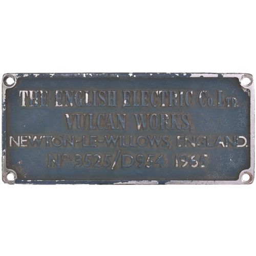 36 - A worksplate, ENGLISH ELECTRIC/VULCAN FOUNDRY No 3525/D954, 1965, from a BR Class 37 No D6965 built ...