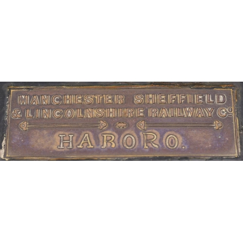 37 - A platform wall lamp with brass plate, MANCHESTER SHEFFIELD & LINCOLNSHIRE RAILWAY CO, HABORO, a sta...
