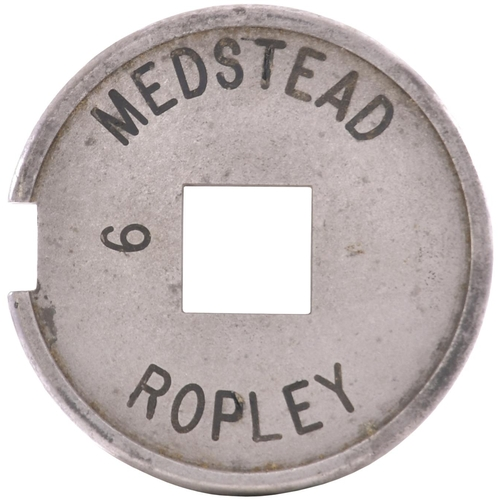 48 - A Tyers No 6 single line tablet, MEDSTEAD-ROPLEY, (alloy), from the Alton to Winchester route which ...