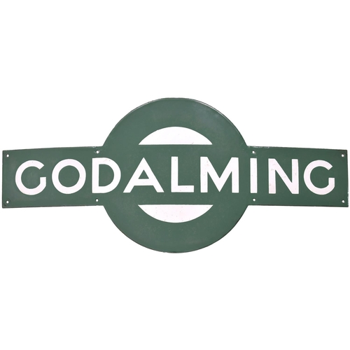 55 - A Southern Railway target sign, GODALMING, from the Guildford to Haslemere section of the Portsmouth...