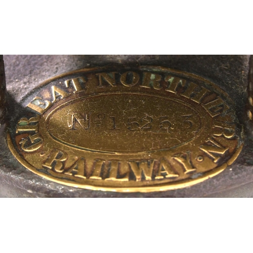 58 - A Great Northern Railway signal lamp with a brass plate, MELTON, from Melton Mowbray North on the GN...