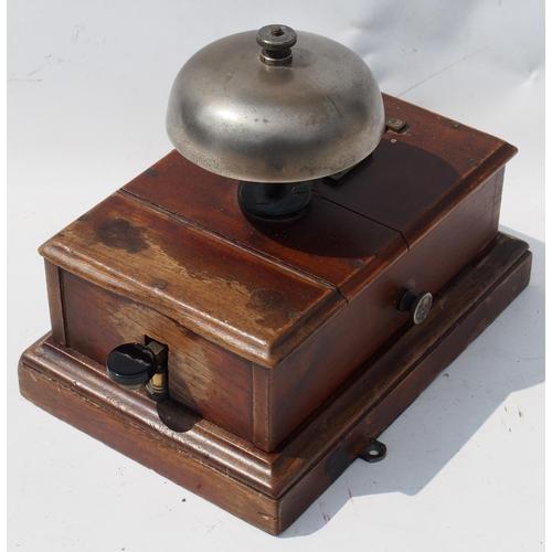 14 - Great Western Railway signal box block bell, older split upper case with turned bell stem pattern, e...