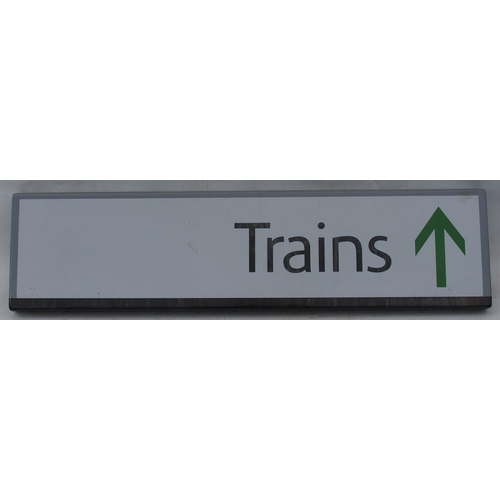 """Modern Northern Railway enamel station sign """"Trains -->"""" good bright condition and manageable size, 32""""x 8"""". (Postage Band: D)"""