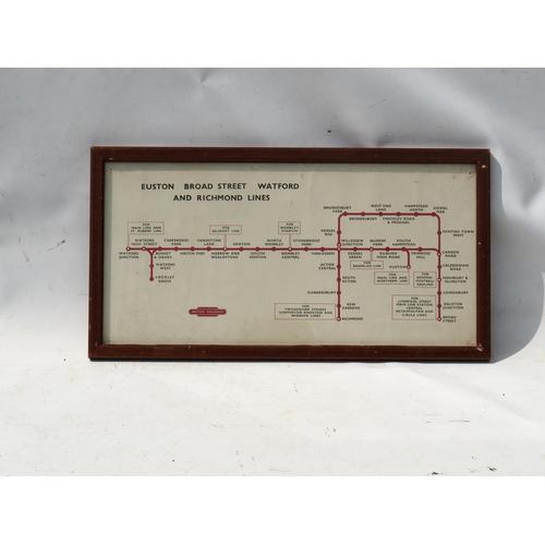 25 - British Railways (Midland) carriage framed map - Euston, Broad Street, Watford & Richmond Lines, ori...