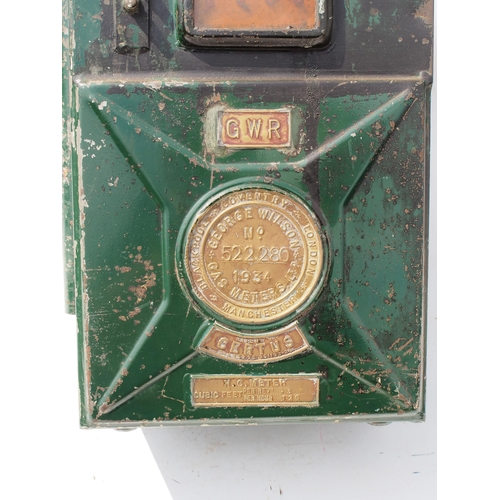 26 - Great Western Railway gas meter, dated 1934 ex Bristol Temple Meads Station, 10
