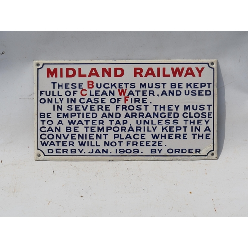 30 - Midland Railway enamel fire buckets notice, excellent condition, small amount of touching in on edge...