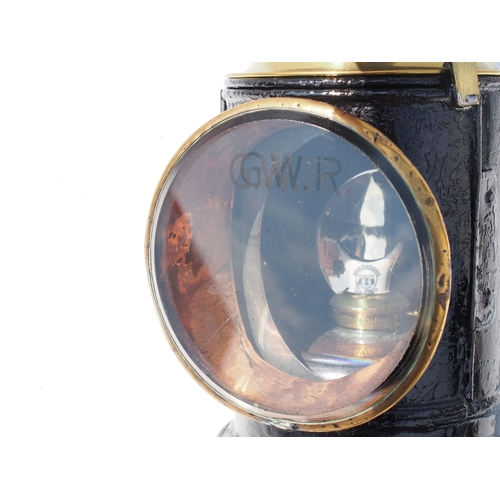 33 - Great Western Railway coppertop handlamp No. 15056, complete with copper reservoir & all glasses, re...