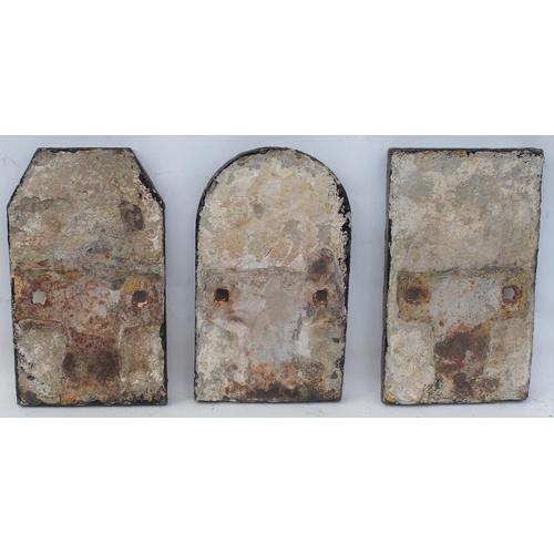 37 - North British Railway C/I milepost heads, 1/4, 1/2 & 3/4, front repainted backs original condition, ...