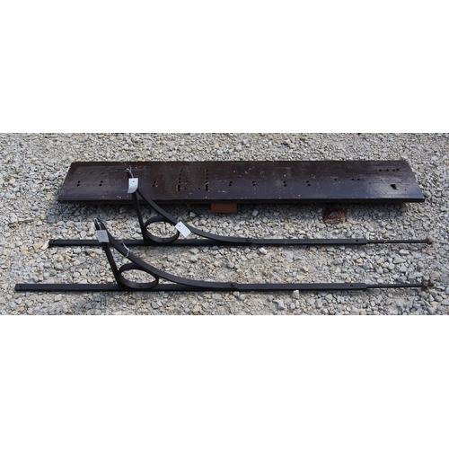 45 - Midland Railway signal box block instrument shelf & wrought iron brackets (2), old box type shelf in...