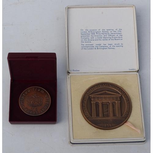46 - London & Birmingham Railway centenary medal 1838 - 1938, in original case, excellent condition, Metr...