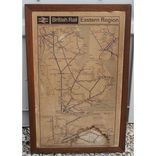 50 - British Railways (Eastern) mounted & framed system map 1966, one very good condition framed & glazed...