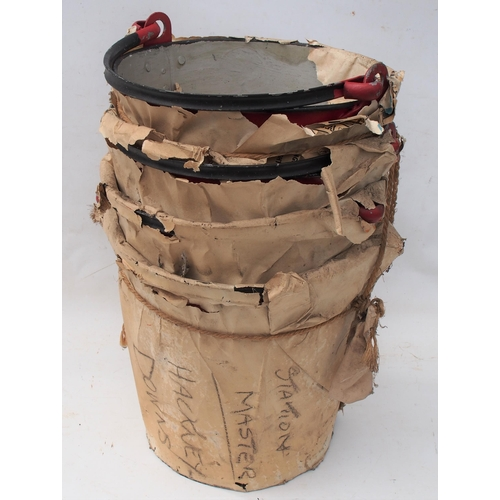 52 - British Railways fire buckets, brand new ex stores still wrapped in delivery brown paper & string