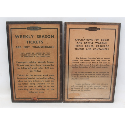55 - British Railways (Eastern) framed card notices, Season Tickets & Allocation of Goods & Cattle Wagons...