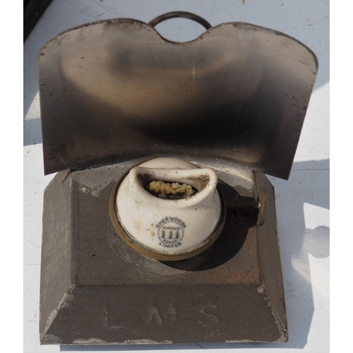 8 - Midland Railway general purpose handlamp with LMS reservoir, missing one side glass (easily replaced...