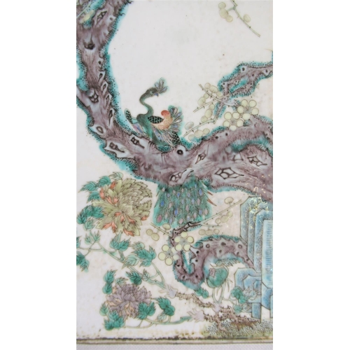 120 - A Fine Quality 19th / Early 20th C Chinese Famille Verte Porcelain Plaque. Finely decorated with Pea...