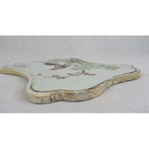 121 - A Good 19th / Early 20th C Chinese Porcelain & Enamel Plaque. Decorated with a Cockerel and flowers ...