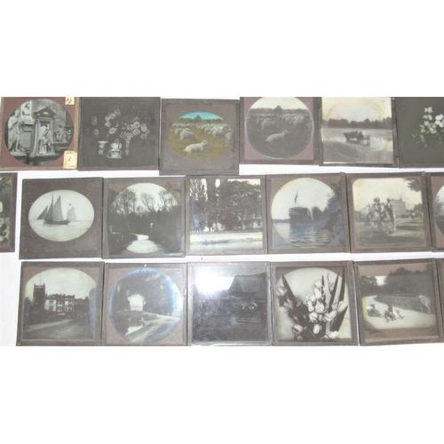 13 - Magic Lantern Glass Photo Slides. Late 19th / early 20th C. Various UK scenes inc. Isle Of White, Lo...