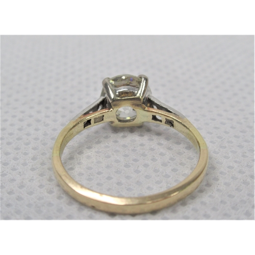 109 - A Very Good Old Cut Diamond Solitaire Ring 1.42ct, Clarity VS2, Colour L. Set in yellow gold and pla...