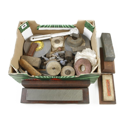 48 - Two boxed oilstones and quantity of abrasive wheels etc G