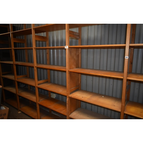 204 - A six bay run of REMPLOY Lundia shelves 16' x 14'                                                   ...