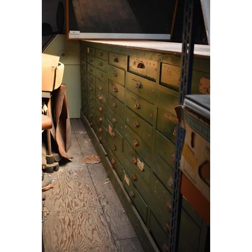 208 - A vintage multi-drawer double sided storage unit 12' x 3' Ex De Havilland/British Aerospace factory ...