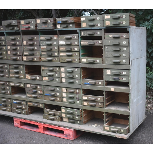 25 - A vintage multi-drawer partners or double sided chest of drawers 9'6