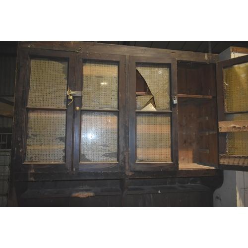 27 - A large antique pine dresser with glazed doors for restoration                                      ...