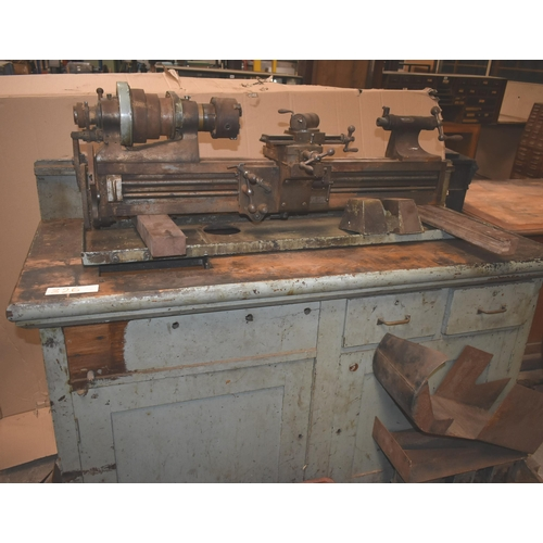326 - A rare vintage RIVETT No 608 toolroom lathe for restoration with orig oak cabinet, change gear, tool...