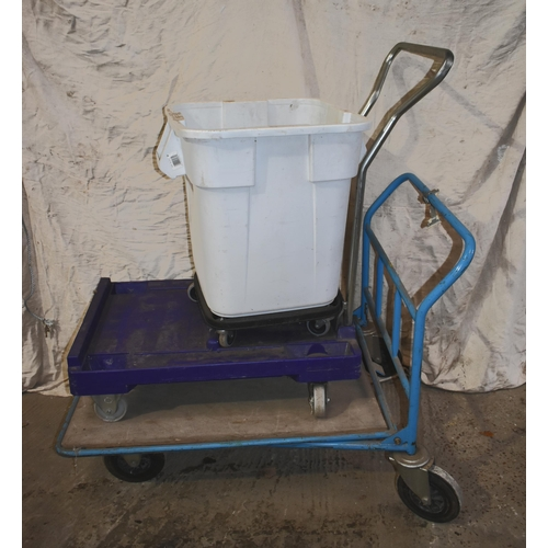 53 - A 4 wheel trolley and a plastic bin on wheels                   Subject to VAT