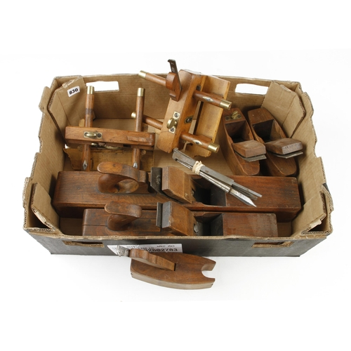 830 - A little used set of bench planes: a plough (with 6 Hildick irons), sash fillister, 5 beads, 5 pairs...