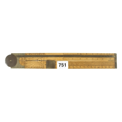 751 - An extremely rare 2' two fold boxwood and brass rule by J PARKES & Son Reg'd June 28 1853 with brass...