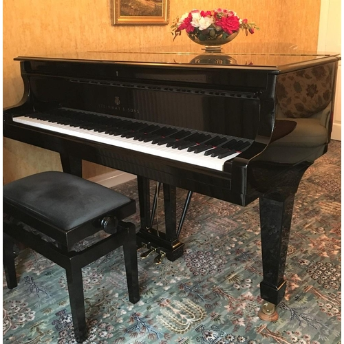 115 - Steinway (c2001)  A 5ft 10in Model O grand piano in a bright ebonised case on square tapered legs; t...