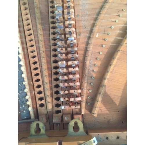 9 - Double Manual Harpsichord A Double manual harpsichord in a green painted case on a trestle base. Ple...