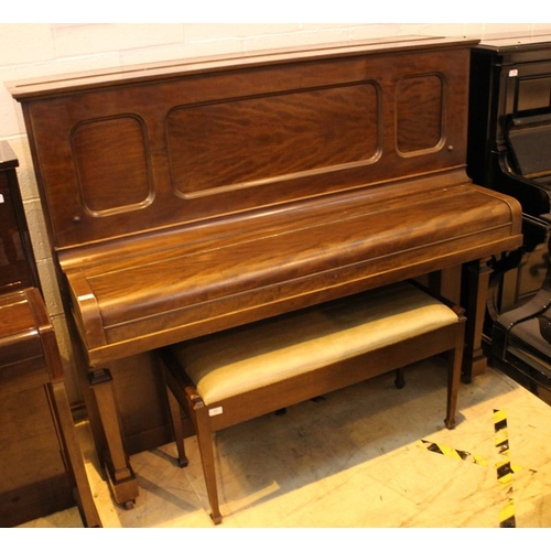 37 - Steinway (c1925)  A Model K upright piano in a mahogany case; together with a stool...