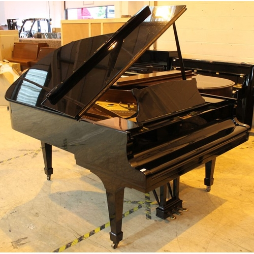 25 - Steinway (c1966)  A 6ft 2in Model A grand piano in a bright ebonised case on square tapered legs.  T...