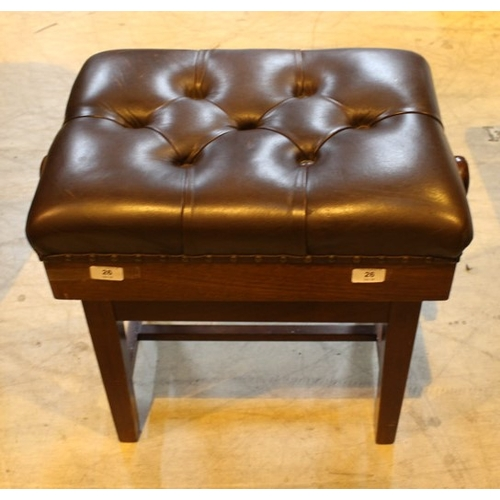 26 - Piano Stool  A concert adjustable piano stool with button upholstered leather top....