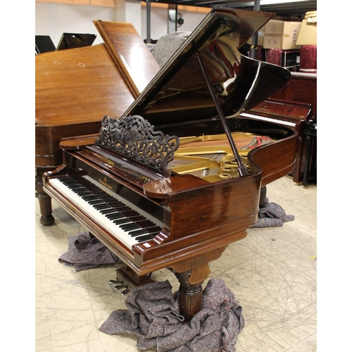 15 - Steinway (c1891)  A 6ft 11in 85-note Model B grand piano in a rosewood case on turned 'elephant' leg...