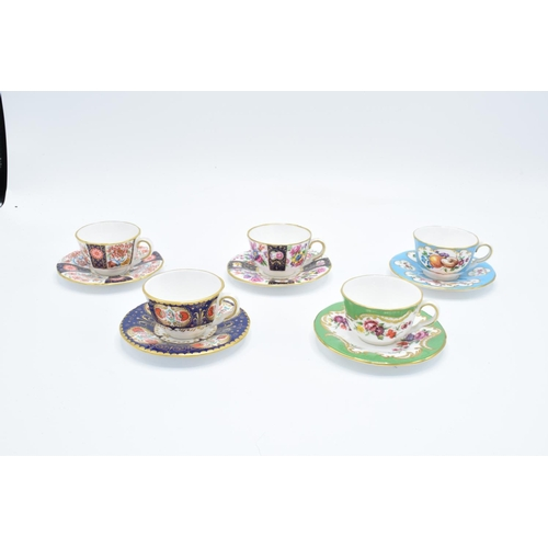 1 - Royal Worcester Miniature Cups and Saucers: Blue Panelled Floral, Wheatsheaf, Marchiones of Huntley,...