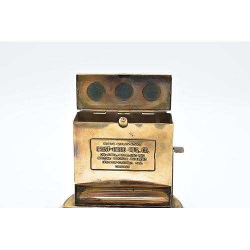 16 - Brass cigarette dispenser and ashtray, Brust Harig MFG Chicago...