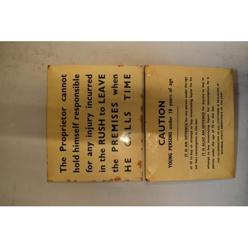 24 - 20th century card backed pub notice signs...