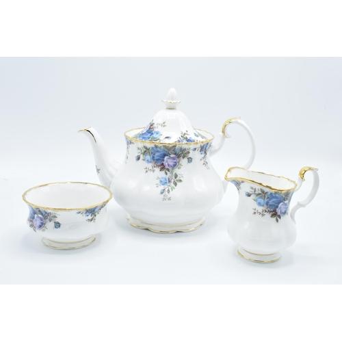 Royal Albert large teapot, milk and sugar in the Moonlight Rose design (3)